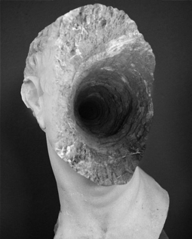 Jessica Harrison - Hole in Head 2011 #photography #collage #black #head #bust #tunnel #montage #jessica harrison