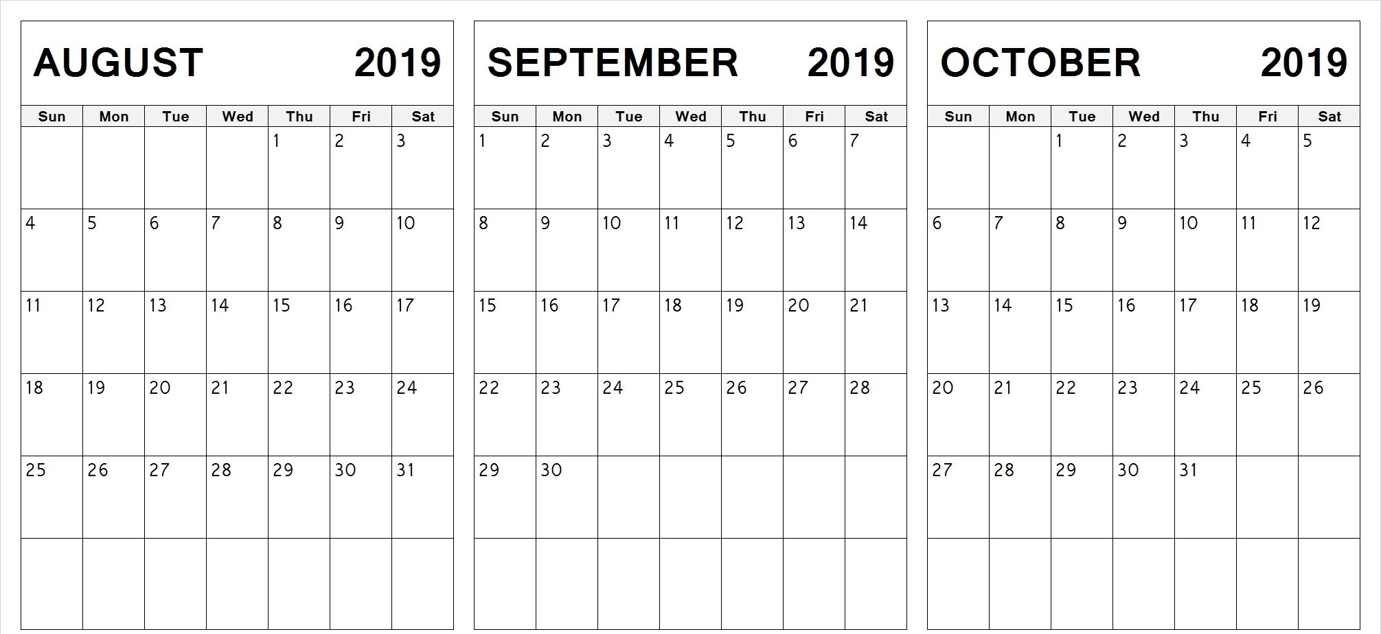 Printable 2019 August September October Calendar Calendar June