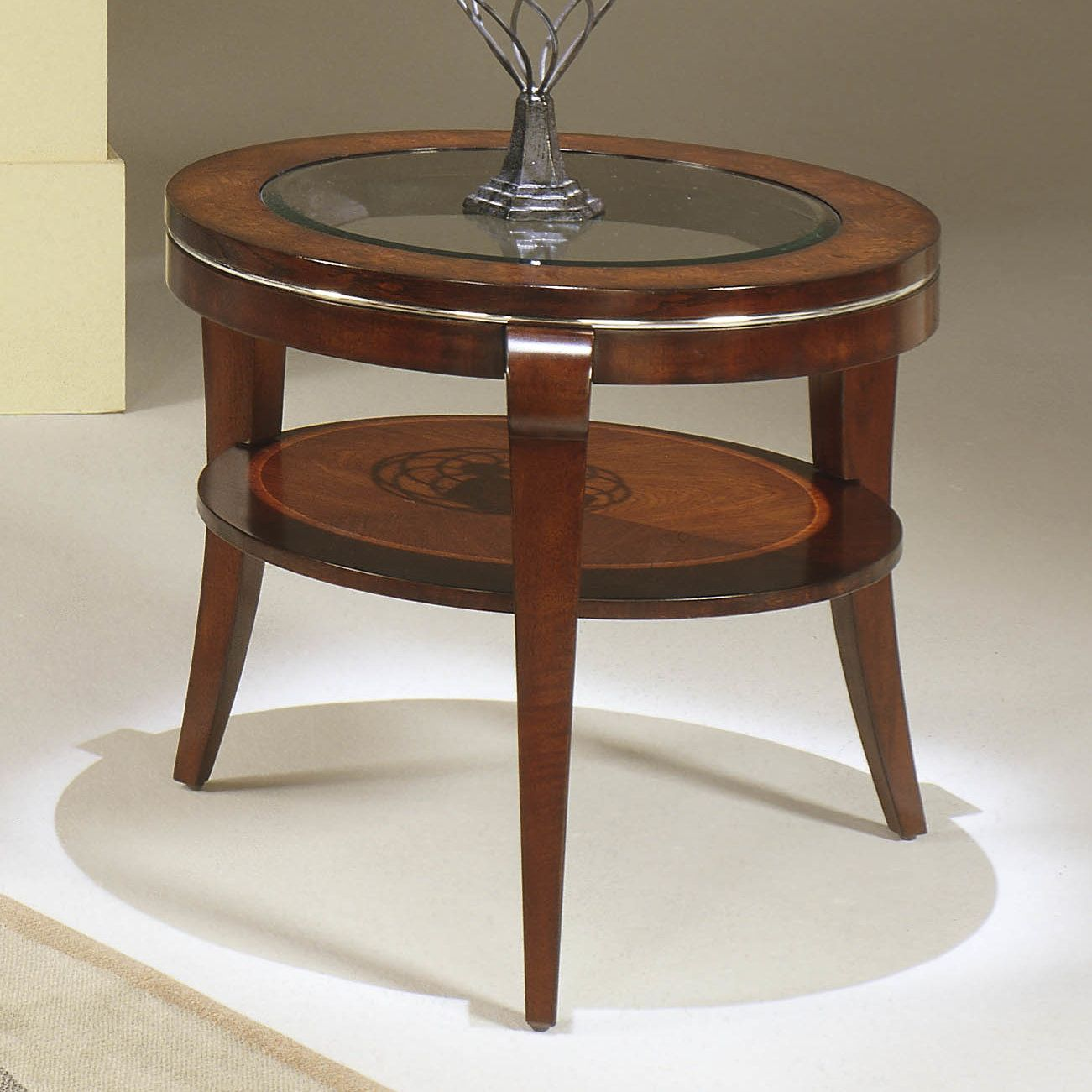 Settee End Table Buxton Round End Inset Glass Products Furniture Furniture