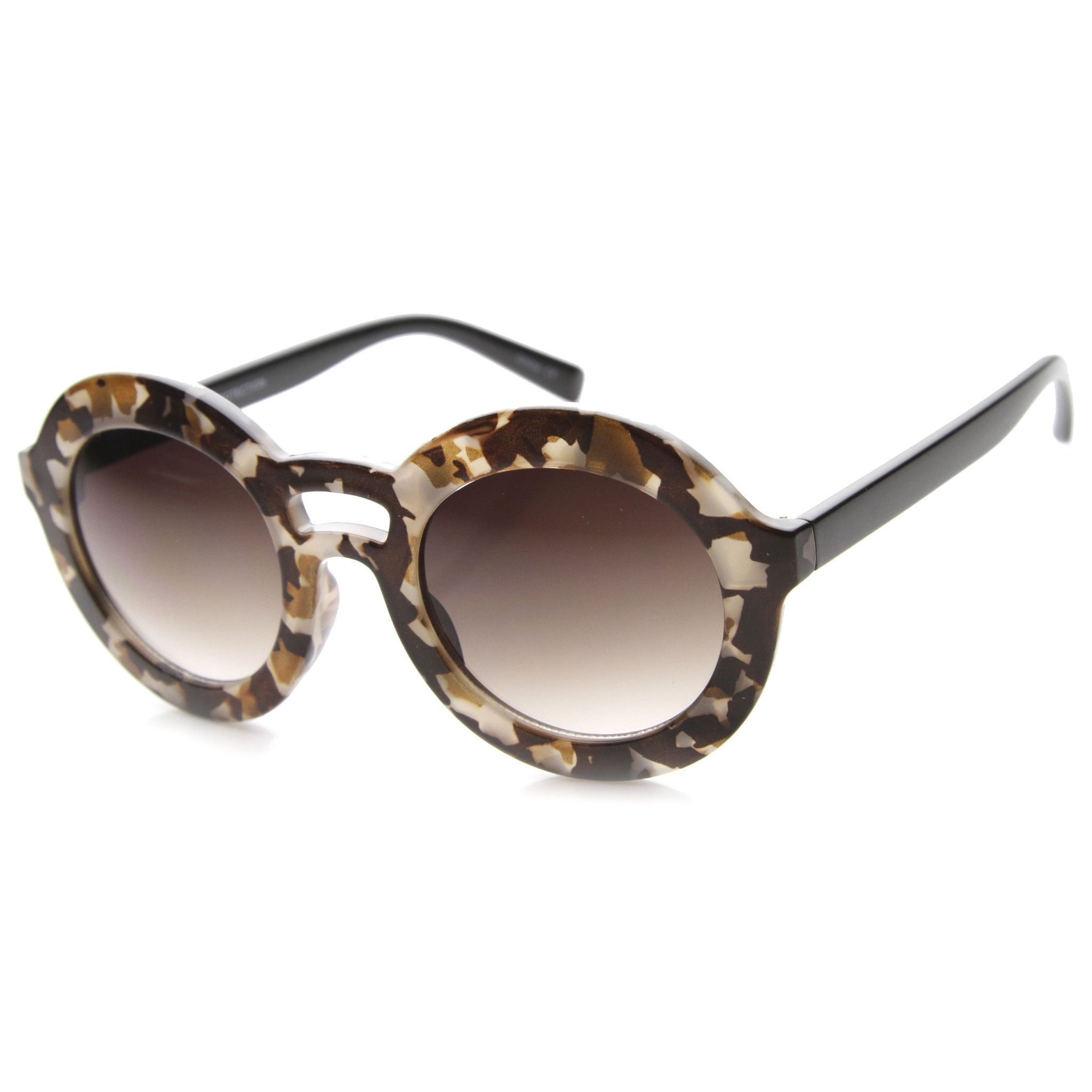 43ca7288460 Women s Fashion Round Bold Frame Sunglasses 9857