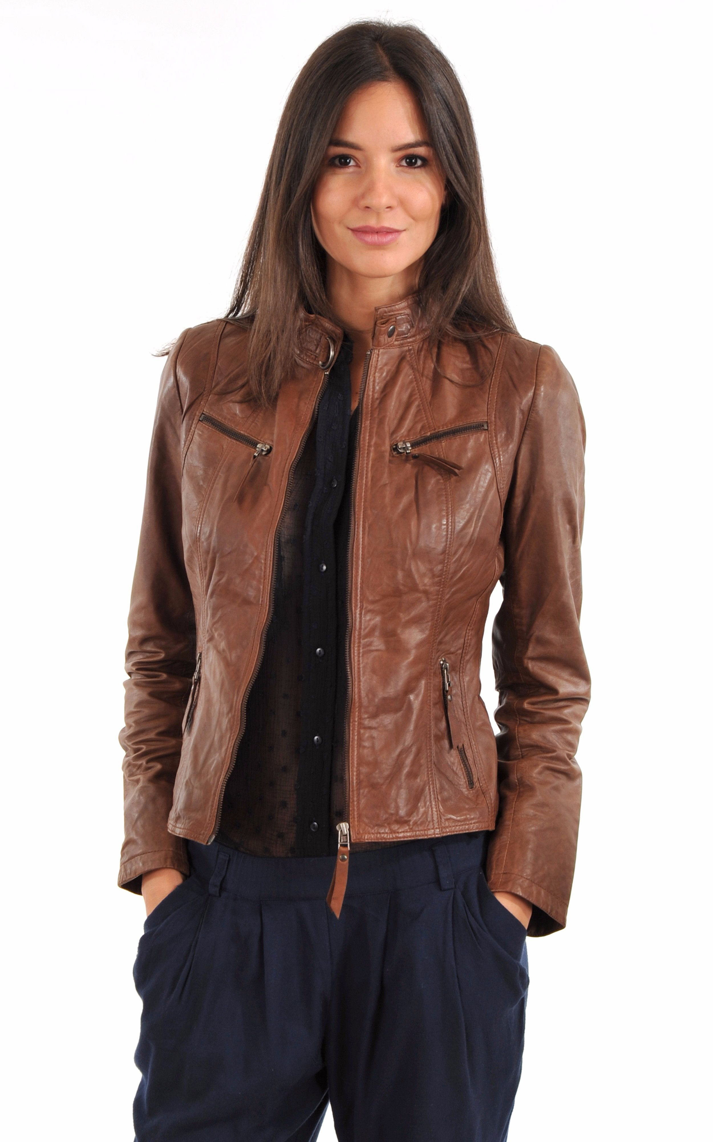 Recherche veste en cuir femme