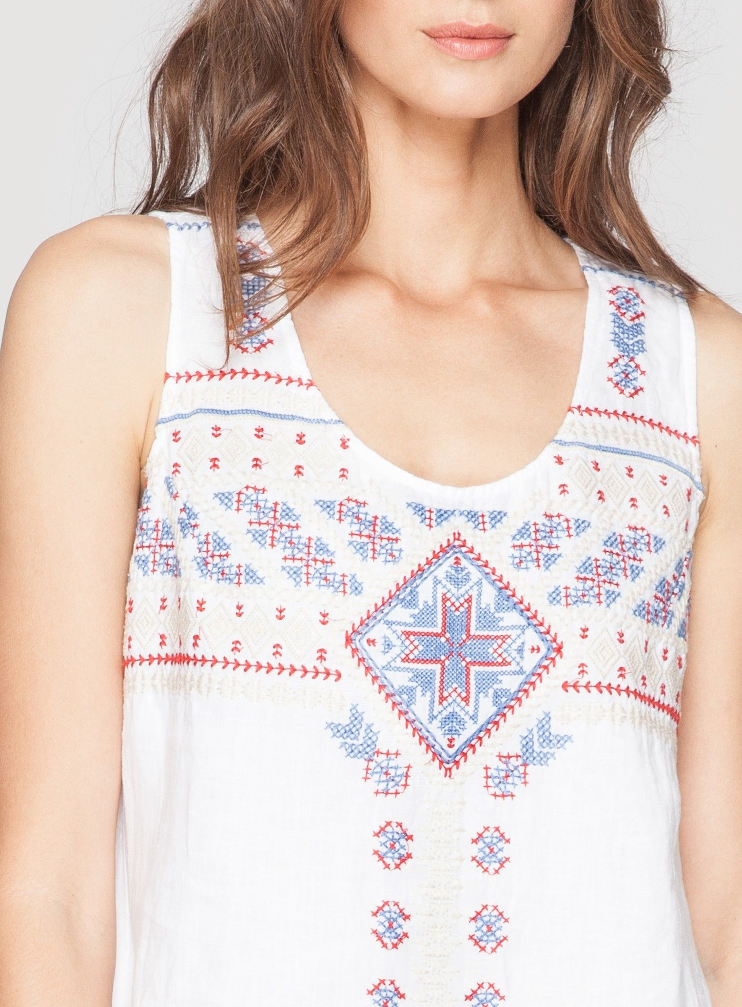 261e93e814 Jojo Asymmetrical Linen Tank Tunic White | embroider - Cross Stitch ...