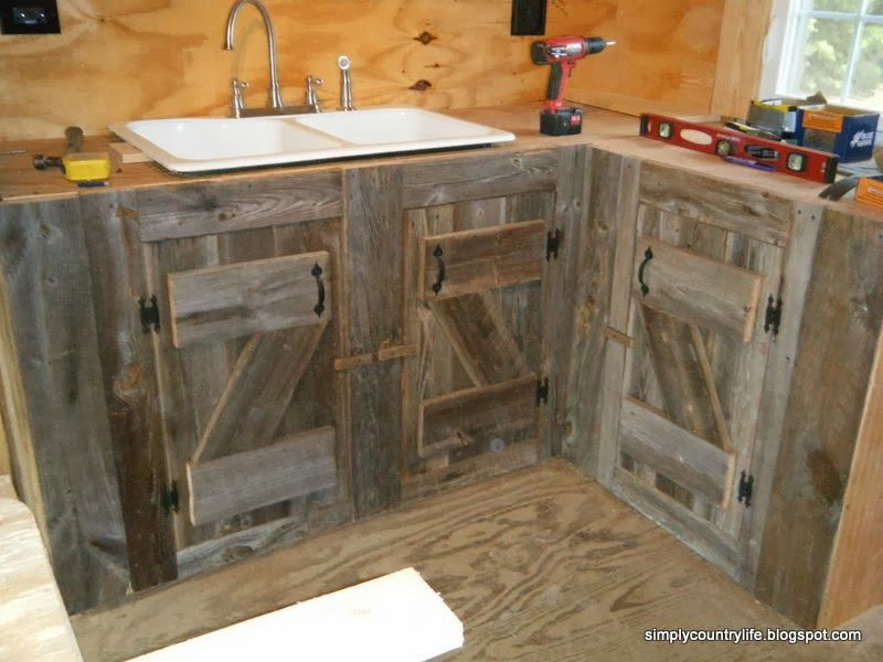 Barn Wood Kitchen Cabinets Cabin Chronicles Part 12 Reclaimed Barnwood Kitchen Cabinets Barn Wood Diy Kitchen Cabinets Primitive Kitchen