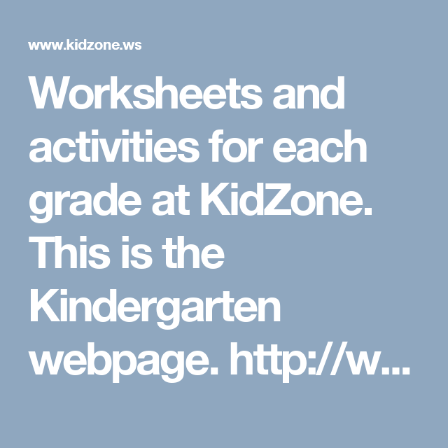 Worksheets and activities for each grade at KidZone. This is the ...