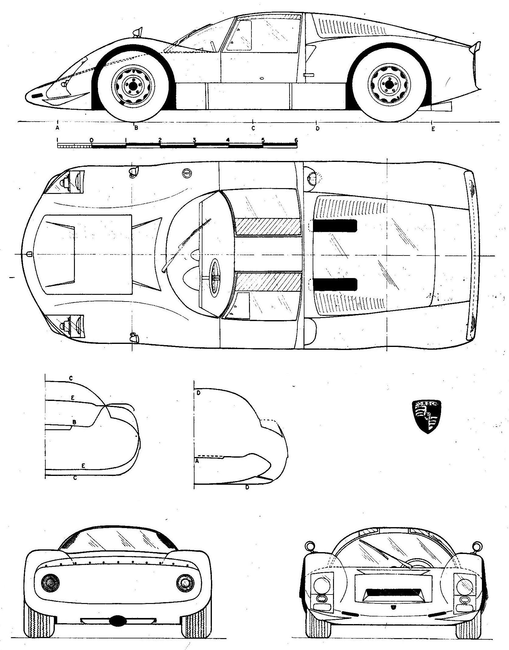 Porsche 906 blueprint | Racing Car blueprint | Pinterest
