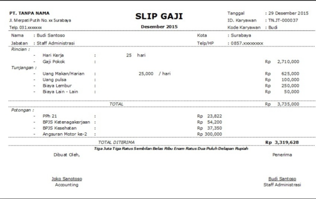 19 Contoh Payslip Office Word Malaysia Word Template