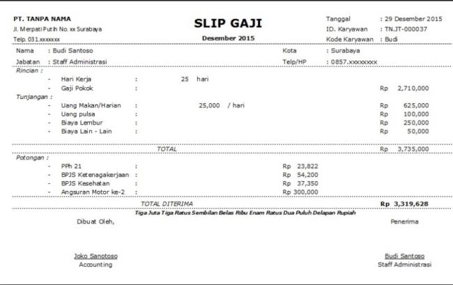 Contoh Slip Gaji Karyawan Excel Download Kumpulan Gambar