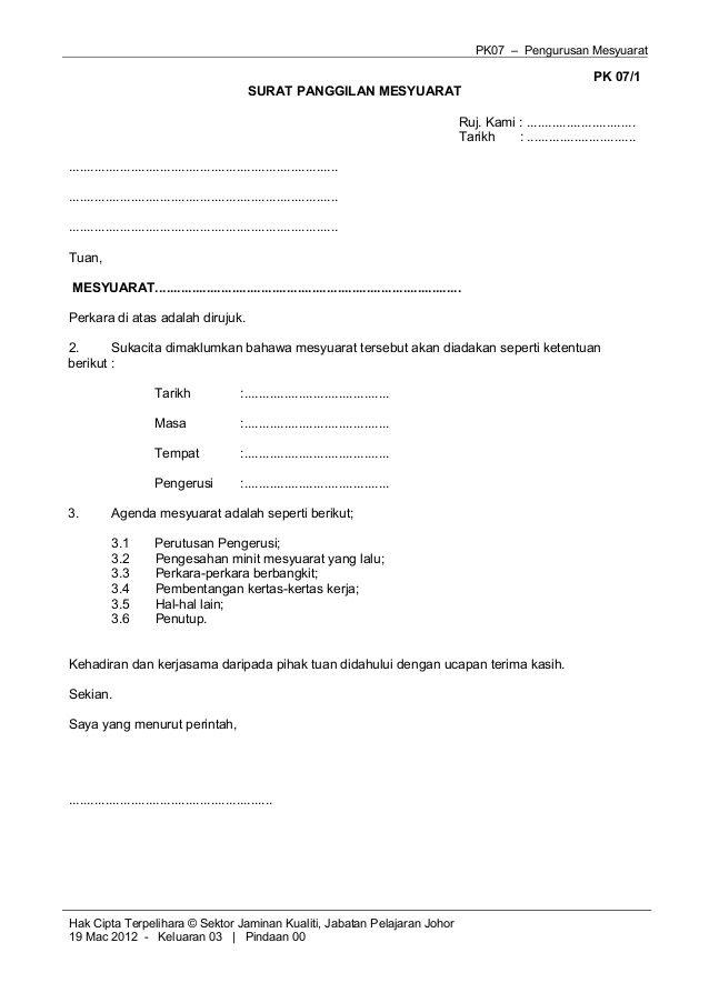 Contoh Format Surat Panggilan Mesyuarat Upload Share Places to - format of an agenda