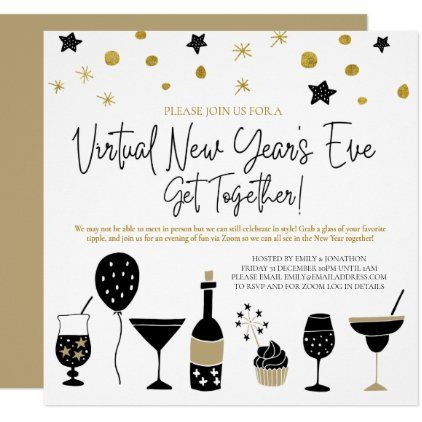 Virtual New Years Eve Party Cocktails Gold Black Invitation Zazzle Com New Years Eve Party Black Invitation Eve Parties