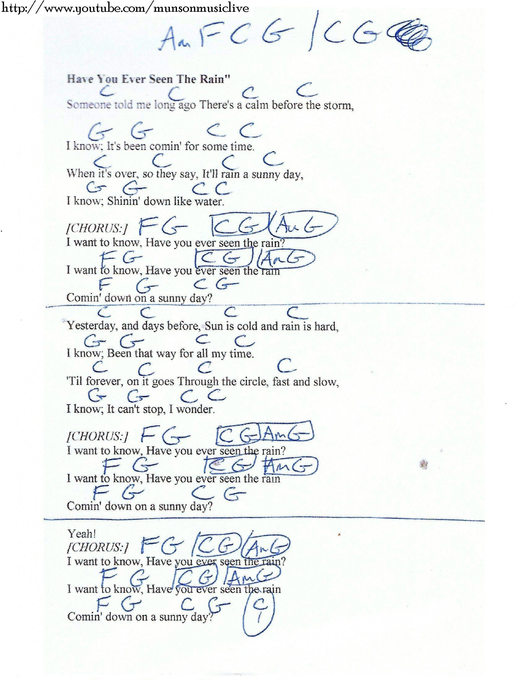 Have You Ever Seen The Rain Ccr Guitar Chord Chart Guitar