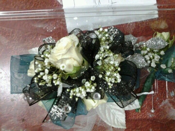 Black Silver And Dark Teal Corsage My Dress As A Corsage Prom