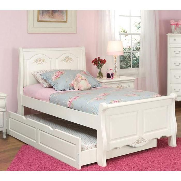 Summerset Twin Sleigh Bed in Fresh White with Trundle | Nebraska