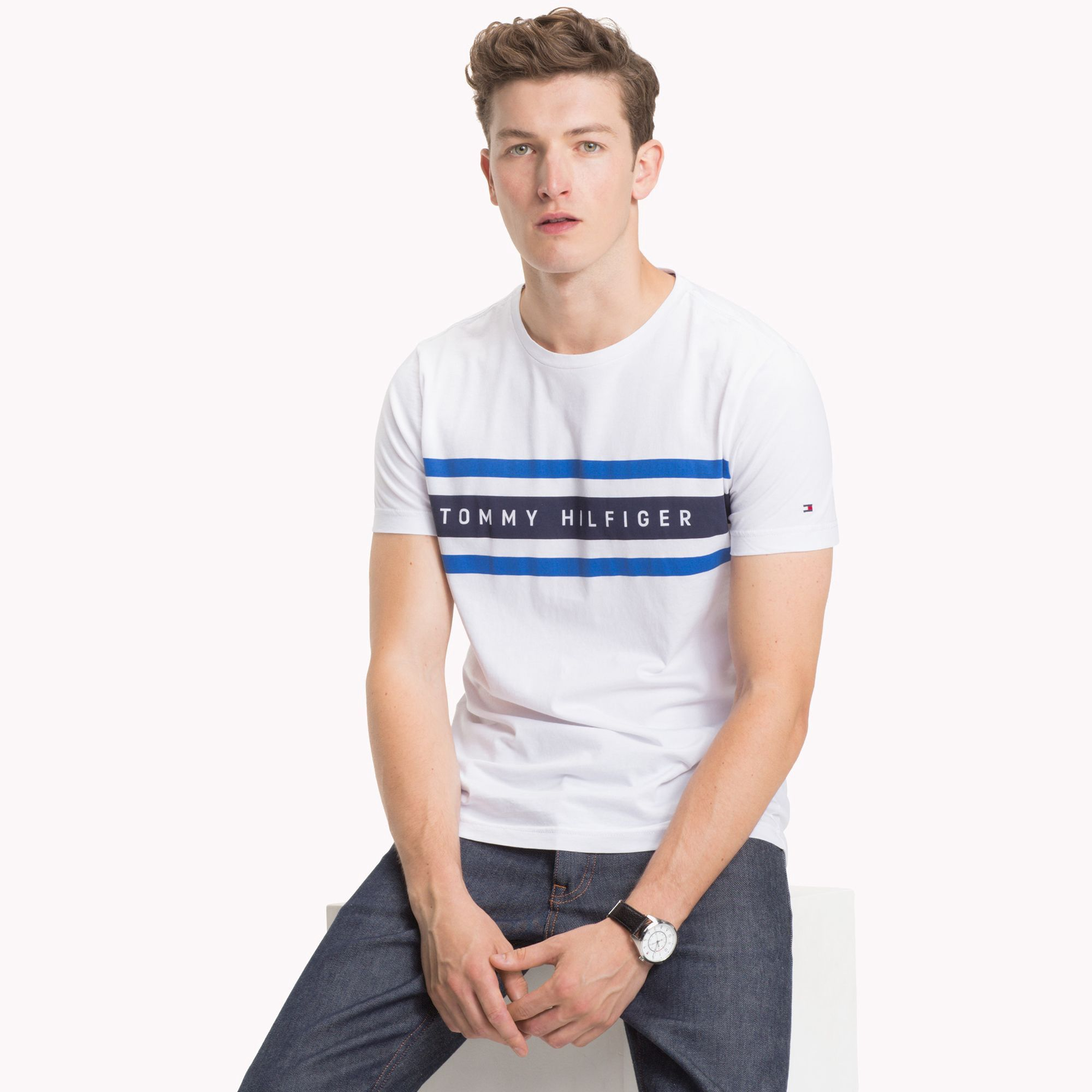 c7caf1e1 Logo Stripe T-Shirt by Tommy Hilfiger in 2019 | Products | Tommy ...