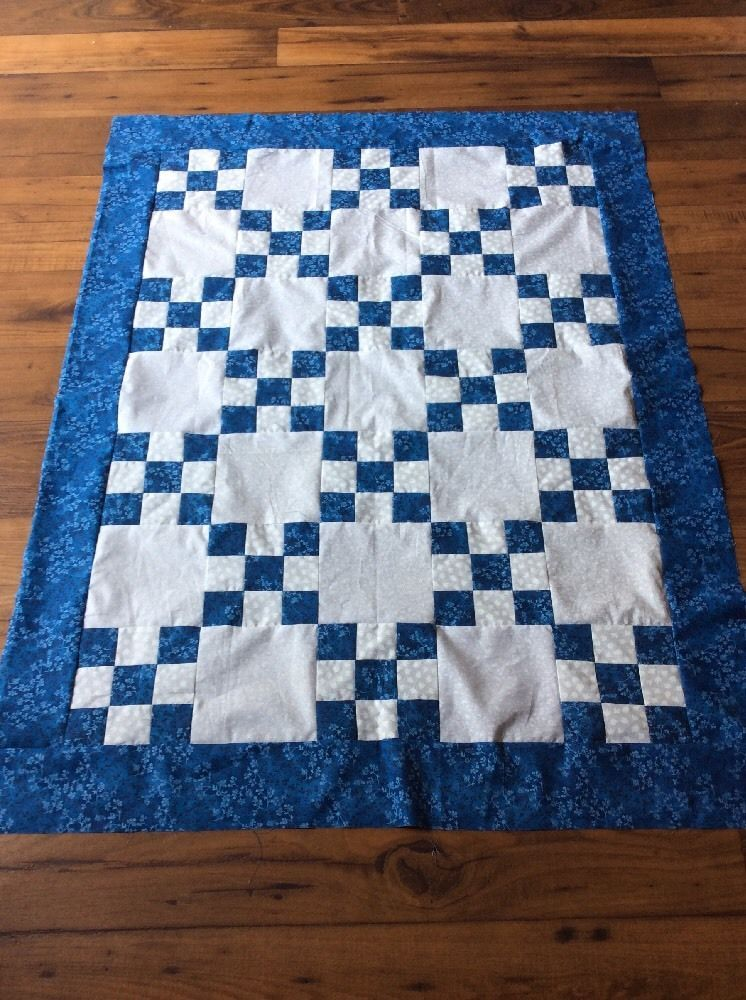 Blue And White Baby Quilt Top Kit | eBay