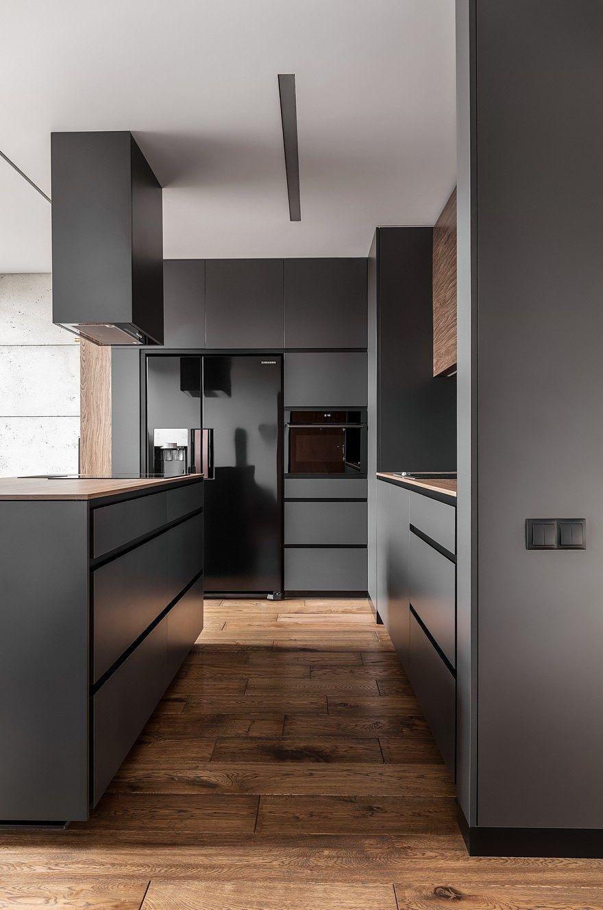 Instantly Captivating Wood And Graphite Apartment In Poznan Modern Apartment Design Apartment Interior Design Modern Kitchen Design