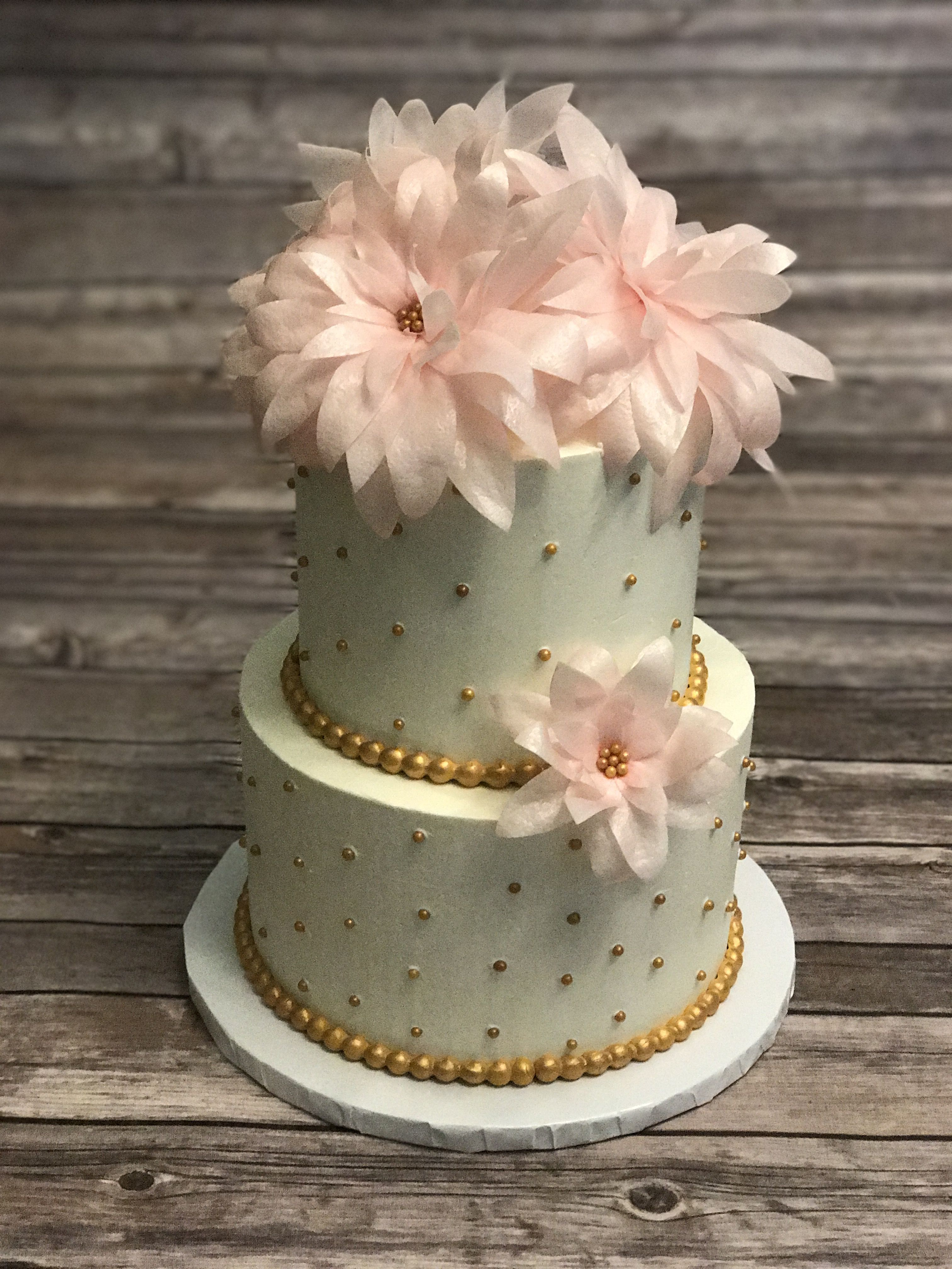2 Tier Cake With Gold Dots And Edible Wafer Paper Flowers Cakes By
