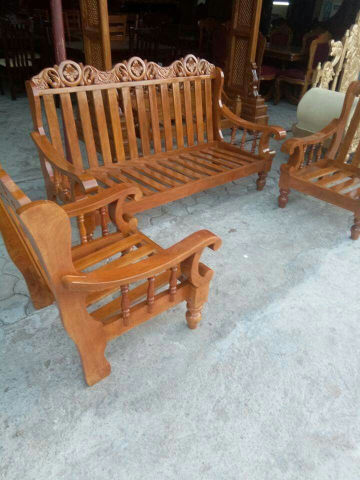Hand Painted Carved Back Teak Wood Sofa Set 3 Pcs Wood Sofa Sofa Set Carved Sofa