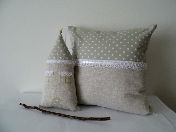 House decor, set of ornaments, fabric house and throw pillow, linen and lace, shabby chic, vintage, romantic house decor, READY TO SHIP