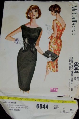 Vtg. McCall's Misses' Dress Sewing Pattern~6044