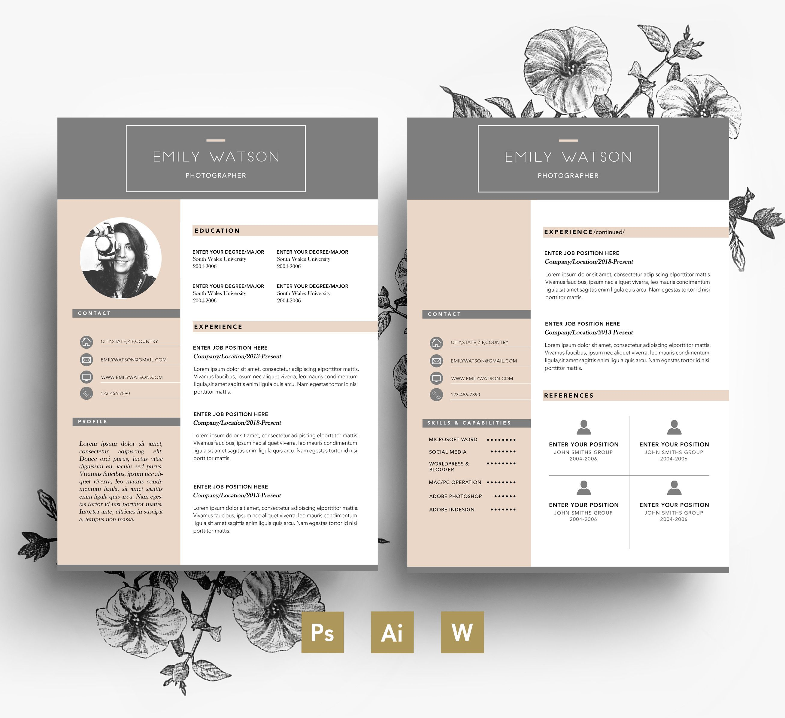 Professional CV template/ Business card + 2 page + Cover ...