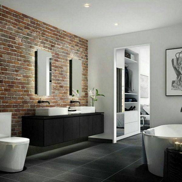Exposed Brick Bathroom - Wall Small Chimney Toilets Subway ...