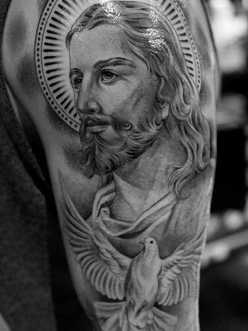 Excepcional 50 Tatuagens de Jesus Cristo: Braço, Costas, Barriga, Perna, Coxa  ZV58