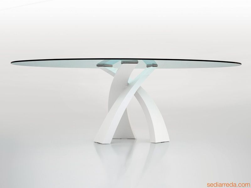Tavoli Di Vetro Ovali : Tavolo design tonin base metallo piano in vetro tondo o ovale