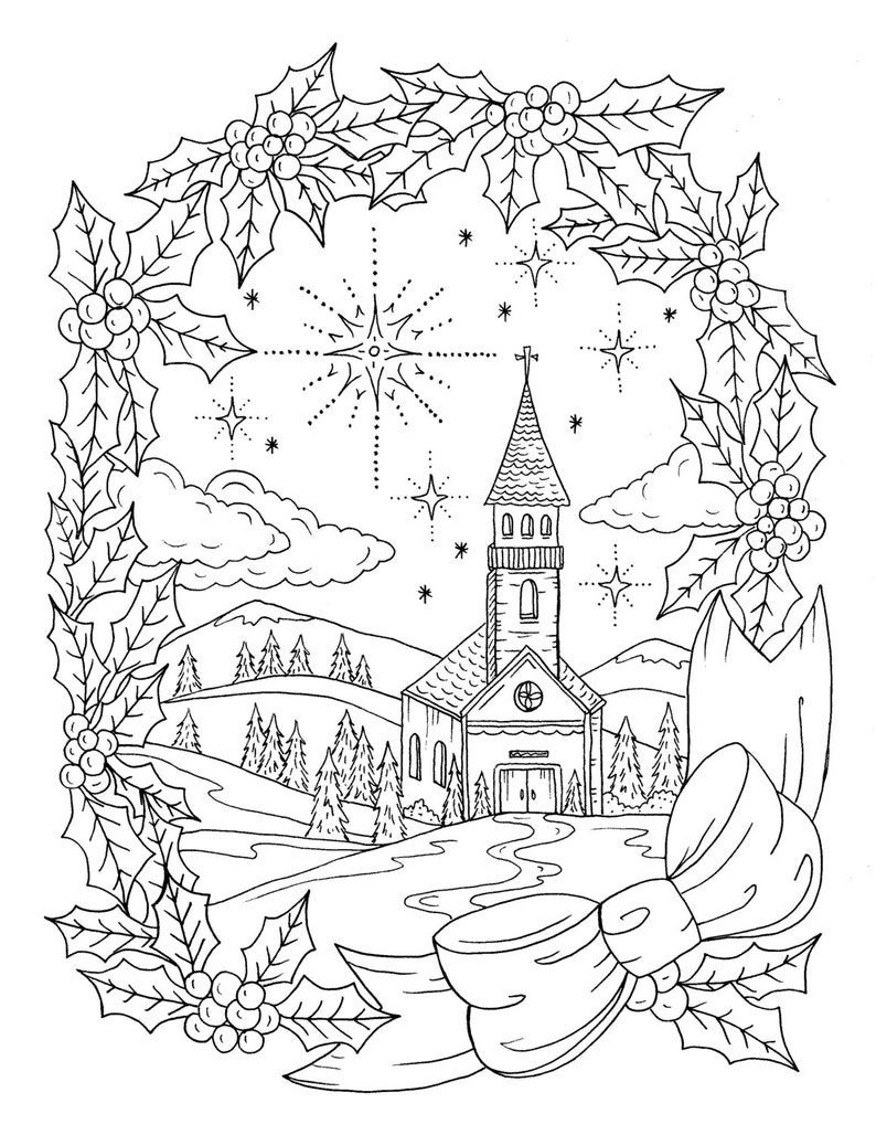Christmas Coloring Page Instant download Adult Coloring