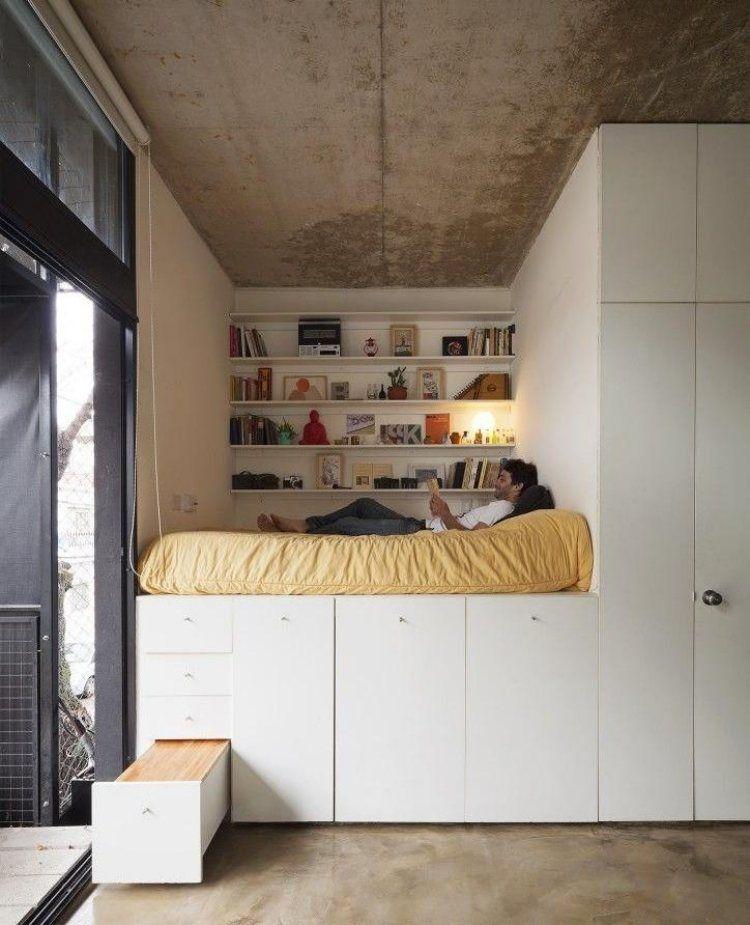 Hochbett selber bauen kreativ  Hochbett für Erwachsene mit Schrank unten | H e i m | H o m e ...
