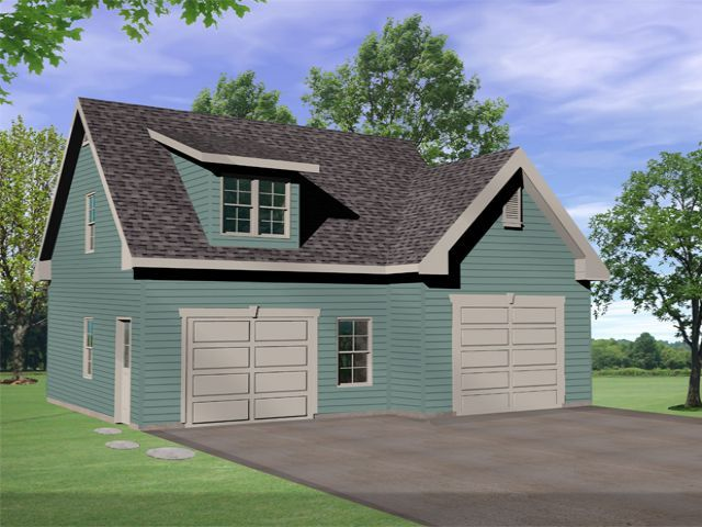 Two Car Garage Plan With Vaulted Ceiling On One Side To Make Room For An  Auto