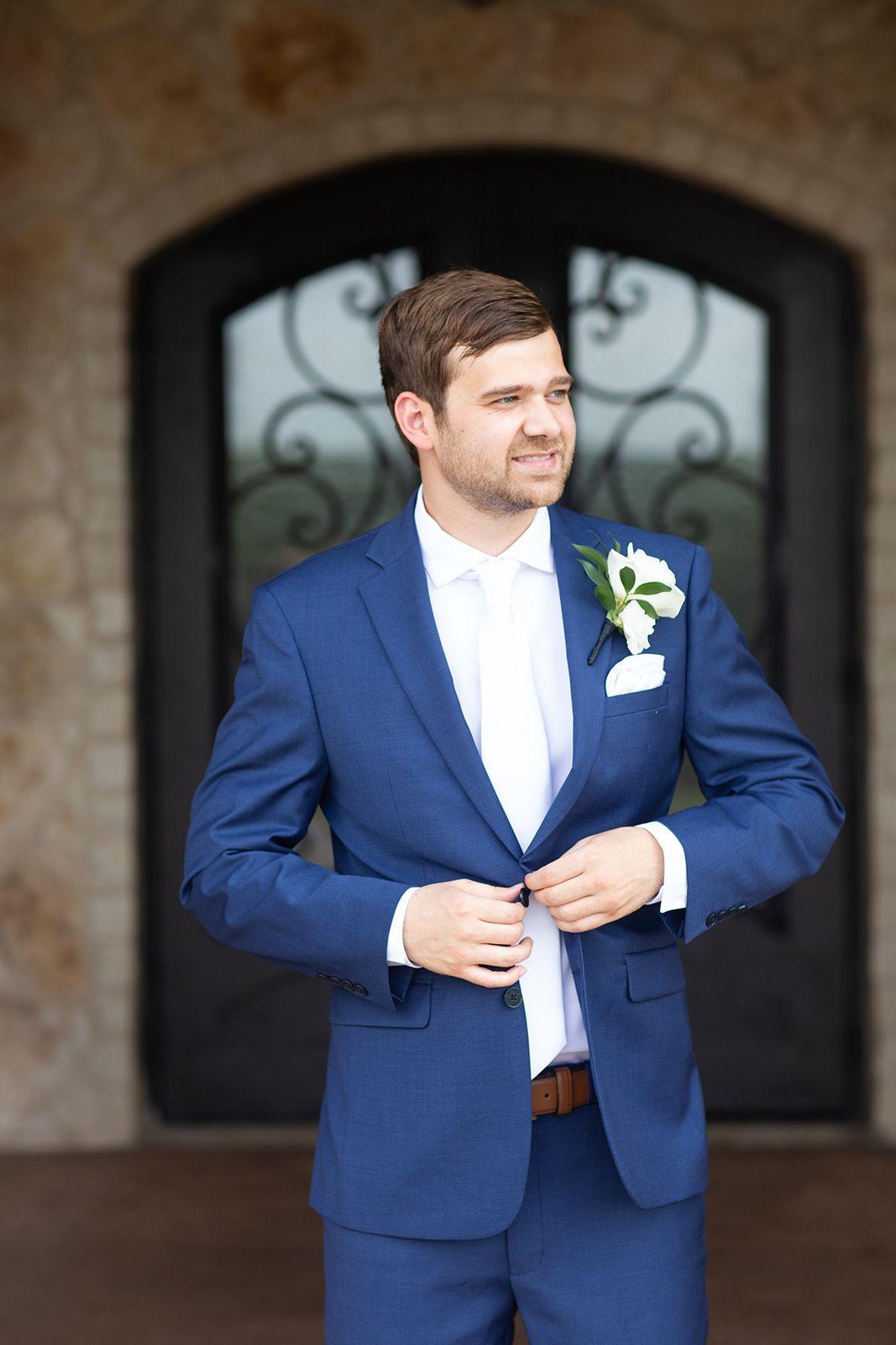 Pink dress shirt blue suit  Tuscany Hill  Wedding Ceremony u Reception Hall  groom  Pinterest