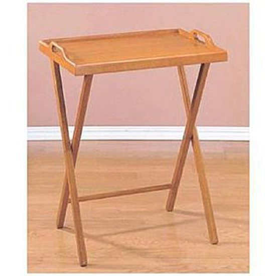 Folding Tv Tray Dinner Table Wooden Oak Home Stand Serving Snack Tea Portable…