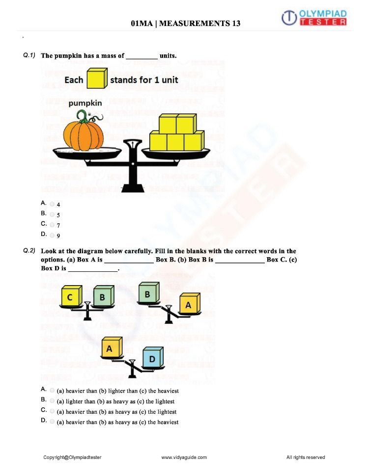 Download Maths Olympiad Class 1 Sample papers on Measurements as a