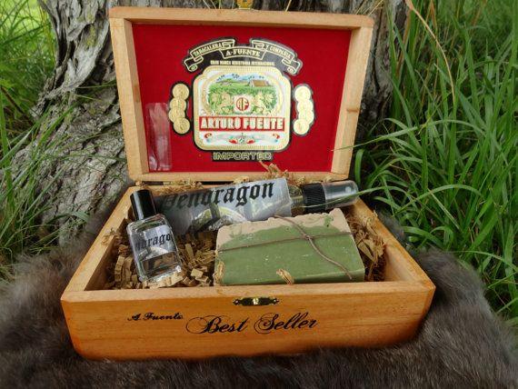 Pendragon Gift Set Soap, Cologne, Body Spray in Wooden Cigar Box via Etsy