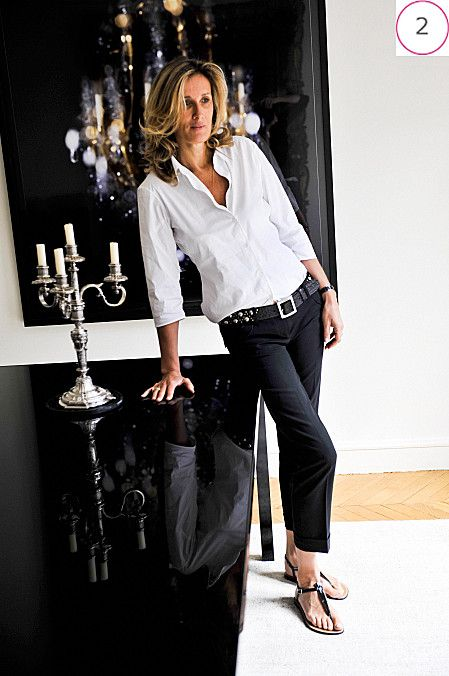 f01dcfe994 Valérie d Hauteville opts for the simple and elegant look  white shirt and  black pants.