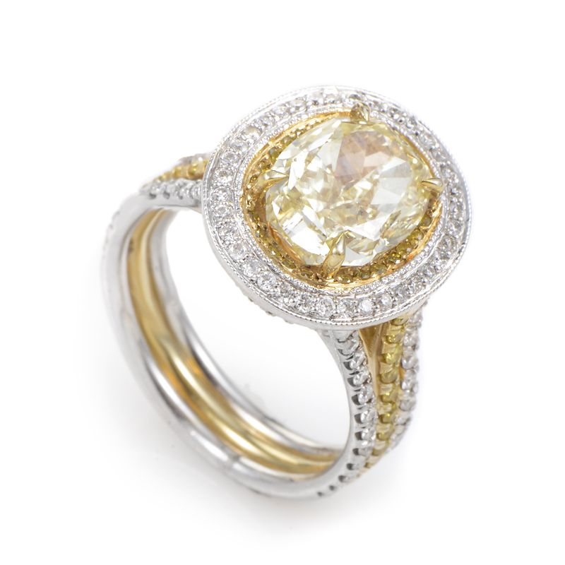 three yellow rings diamond ring gold ruth gregg platinum stone