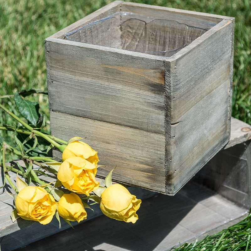 This 5 inch square natural barn wood planter box is not