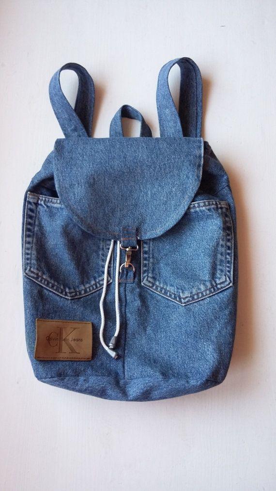 Teenage Denim Backpack / 90s Teenage Denim Backpack / Teenage Vintage Denim Backpack / Jean Backpack cK Patch / Teenage Fashion Backpack