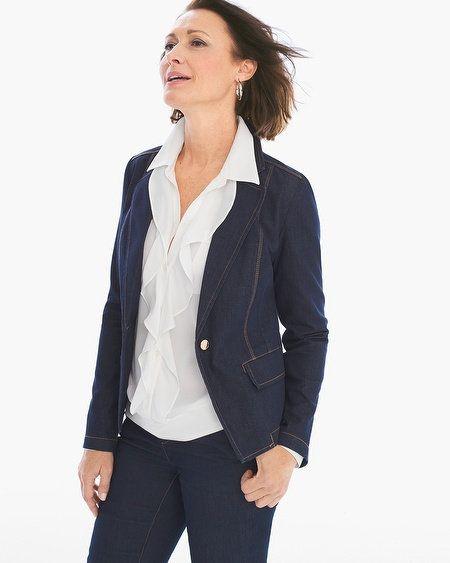 7c2d9ea70d14 Embellished Sleeve Jacket | Jackets and Vests | Denim blazer, Petite ...