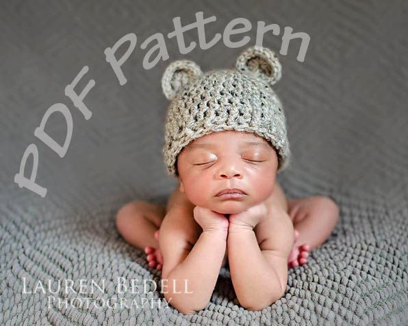 Crochet bear hat pattern easy crochet pattern crochet hat with ears ...