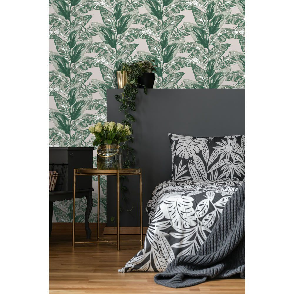 Wallpaper Tropical Leaf Green Stylish storage solutions
