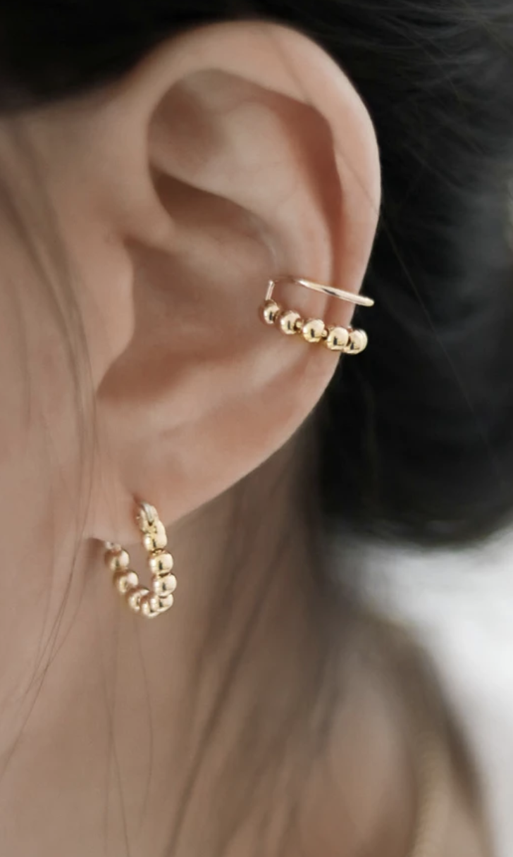 Solitaire Ear Cuff Earring 925 Silver Triple Line Cartilage Cuff 14K Rose Gold
