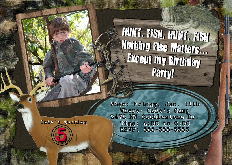 HUNTING Fishing Invitation Birthday Party Hunt Fish Combo Theme CAMO ...