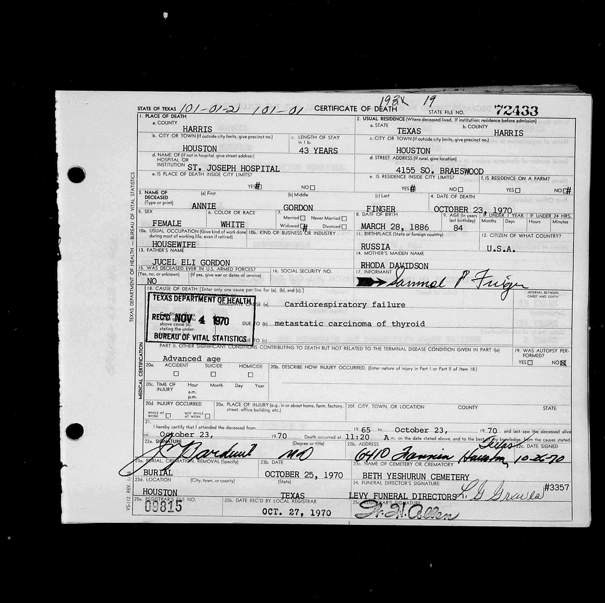 Annie Gordon Finger Death 23 Oct 1970 Place Houston Harris Tx Usa