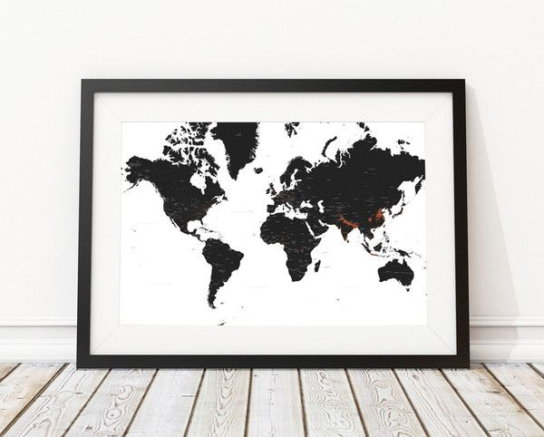 The world map print is black and white except for population density the world map print is black and white except for population density in orange its gumiabroncs Image collections