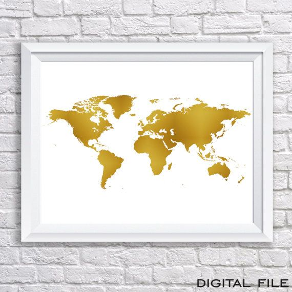 Gold foil wall art world map poster world map gold by grafikshop gold foil wall art world map poster world map gold by grafikshop gumiabroncs