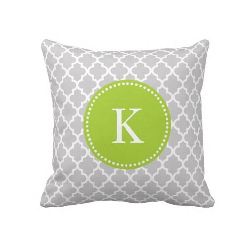 Grey Green Moroccan Pattern & Monogram Throw Pillow Moroccan pattern, Gray green and Monogram ...