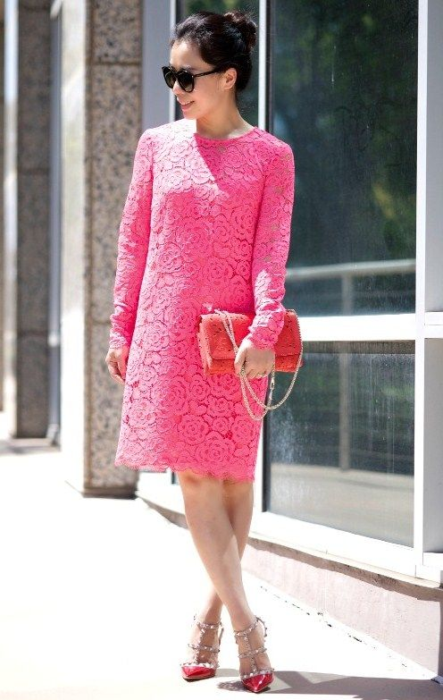 714 Pink And Red Dkny Pink Lace Dress Valentino