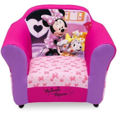 Attirant Disney Minnie Mouse Plastic Frame Upholstered Chair, Pink
