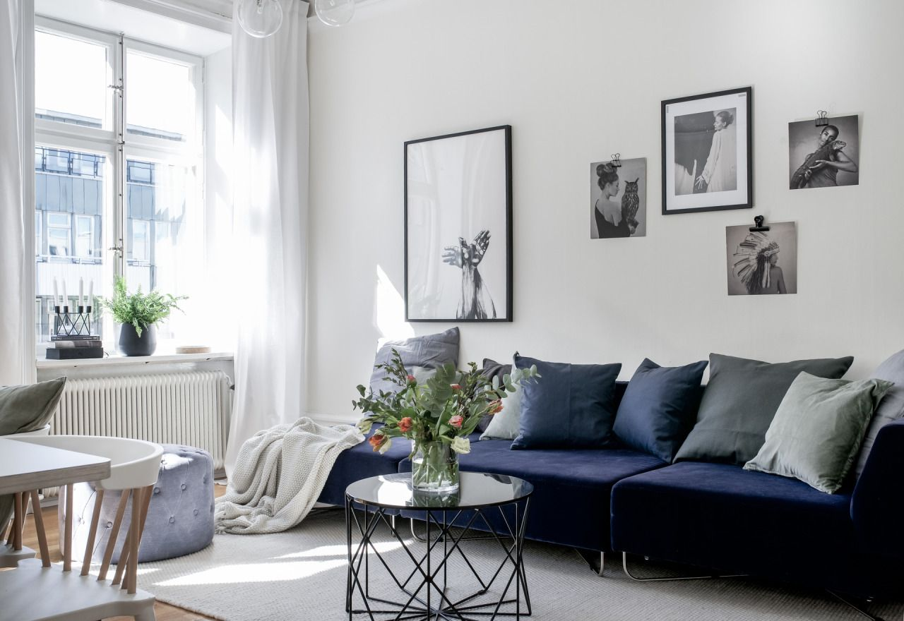 Living room with blue sofa | residential interiors | Pinterest ...
